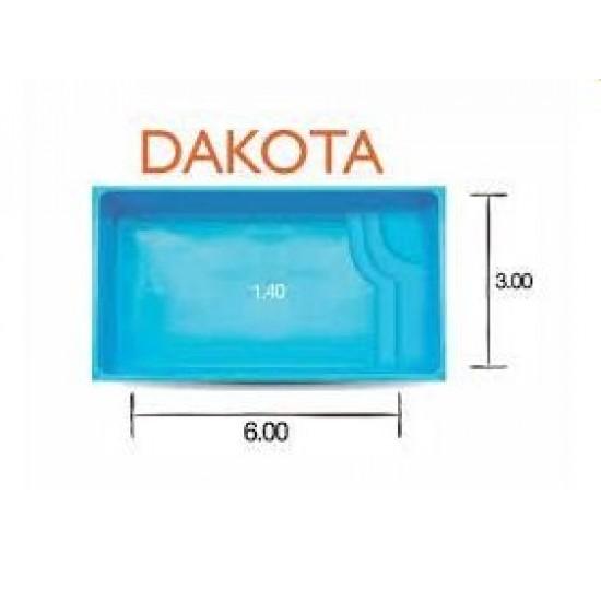 Piscina de Fibra - Dakota - Medidas: 6,00 x 3,00 x 1,40